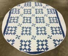 Handsewn Blue & White Oval Quilt Lot 2524
