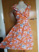 Ladies BAY Dress Size 16 Orange Boat Nautical Print 50s Fit And Flare