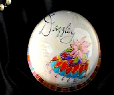 "JOYCE SHELTON GLASS PAPERWEIGHT- ""DAZZLING"" DESIGN"