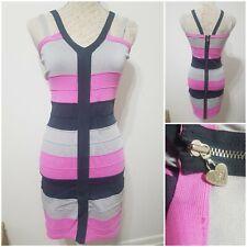 Lipsy Women's Candy Pink grey stretchy Bandage Bodycon sleeve Midi Dress Size 14
