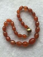 Vintage Gemstone Carnelian Necklace Silver Magnetic Clasp 1980s Retro 925 Old