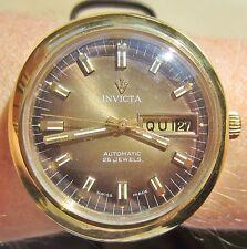 Near Mint 1970s Gents GP Invicta Auto 25 Jewel FHF 909 Day Date Watch Serviced