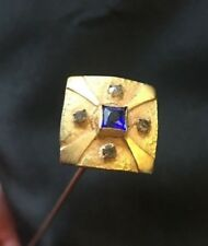 Antique Hat Pin tiny diamonds and blue sapphire