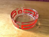 Vintage Round Clear Glass Red stripe Mid Century Ashtray man cave bar atomic MCM