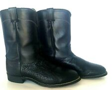 Larry Mahan Cowboy Boot 9 D Men Exotic Smooth Ostrich Leather Preowned Vintage