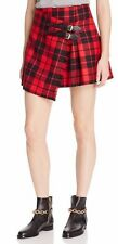 Burberry Leather Trim Plaid Wool Skirt Size 12 US