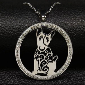 "ENGLISH BULL TERRIER PENDANT WITH 18"" FLAT CURB SILVER NECKLACE FREE GIFT BAG"