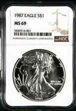 1987 Silver Eagle Ngc Ms69 Spot-Free Gems - Few Graded Higher