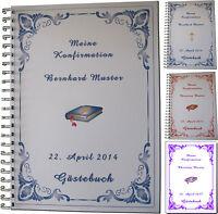 Kleines Gästebuch z. Konfirmation - Karte Einladung Geschenk Symbole Bibel Kreuz