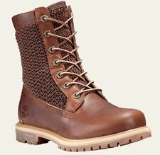 New Timberland Women's Open Weave Net Dark Brown Leather Ankle Work Boots 11