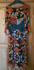 Stunning Topshop Leather Waist Autumnal Floral Midi Dress was £100 size 10