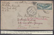 USA to Paris, France via Marseilles; Atlantic Clipper Airmail; 1939