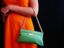 KATE SPADE NEW YORK SMOOTH GREEN LEATHER CHAIN Evening Handbag PURSE CLUTCH BAG