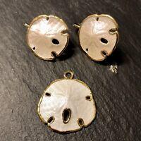 Sand Dollar Pendant And Clip Earring Set 10K Gold Embellished Shells