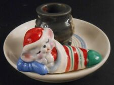 Avon Snuggly Mouse Ceramic Candle Holder Christmas Vintage 1983