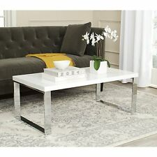 Modern Coffee Table White Chrome Cocktail Rectangular Glossy Living Room Sleek
