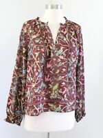 J Crew Point Sur Ruffle Neck Top in Menagerie Floral Bird Print Blouse Size M