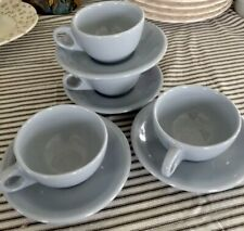 Vintage Buffalo China Lune Coffee Cups And Saucers, Service For 4.