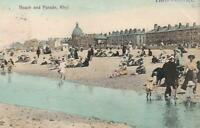 1905 BEACH and PARADE RHYL WALES POSTCARD - sent to Main St, Katoomba