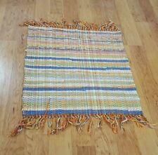 Vintage Country Rag Rug Style Hand Loomed Rainbow Colors