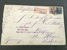 1895 US Stamped Registered Envelope St. Paul, MN to Germany  #1