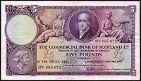 1957 COMMERCIAL BANK OF SCOTLAND LTD £5 BANKNOTE * 17V 095 872 * gF+ *