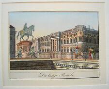 Berlin  Die lange Brücke  Kurfürst kolorierter  echter alter Stahlstich 1844