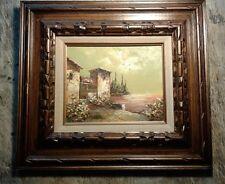 Famous artist P.G.Tiele vintage oil painting Italian Landscape Sea Sunset