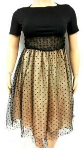 Women's black beige mesh panel back zipper short sleeve ball gown dress XXL