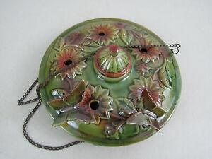 Vintage Ceramic Hummingbird Feeder Steel Basket Hanger Handmade