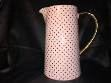 Bloomingville Large Pink With Gold Polka Dots  Pitcher Jug  Excellent Condition