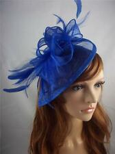 Royal Blue Sinamay & Feathers Teardrop Fascinator  - Occasion Wedding Races
