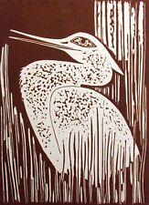 "Lester Hines ""Snow Heron"" Hand Signed Woodcut Art Print bird 1976 Make Offer!"