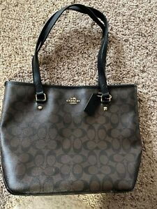 Coach  Zip Top Tote Shoulder Bag Handbag Dark brown/black preowned