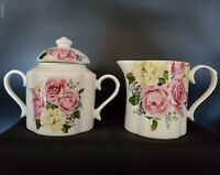 NEW Eileen's Reserve Pink Rose & Flowers Creamer and Sugar Bowl SET