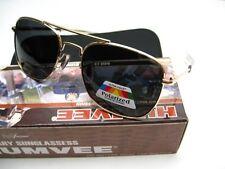 HUMVEE Matte Gold Frame MILITARY PILOT Black 57mm UV POLARIZED Lens Sunglasses!