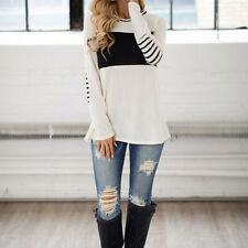 Vintage Women Long Sleeve Casual Loose T-Shirt Tops Ladies Blouse Pullover Tee