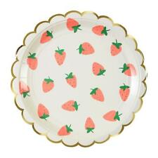 Brand New Meri Meri Strawberry Large Paper Plates Party Supplies Tropical Fruit