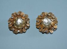 1940's Miriam Haskell Faux Baroque Mabe Pearl with Rhinestones clip on earrings