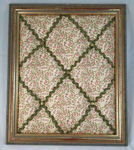 Handmade Vintage Gold Framed Floral Green Fabric Memo Board Jewellery Display