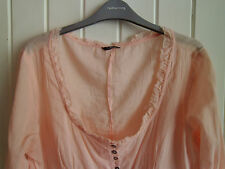 BNWOT - LADIES PEACH COTTON LOW-NECK SUMMER BLOUSE BY EVIE - SIZE 18