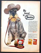 1961 schnauzer photo in cowboy hat Friskies dog food vintage print ad