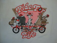 "Vintage ""Ride for Life"" Leukemia Society of America White T Shirt M"
