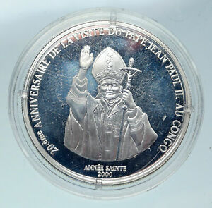 2000 CONGO Lion & POPE JOHN PAUL II Vintage OLD Silver 10 Francs Coin i86460