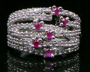 Cubic Zirconia Ruby Cluster Designer Ring White Gold plated 12 RR 18