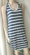 Made in Italy navy white striped jersey trapeze sleeveless dress size 14-16 bnt