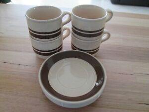 Set 4 Coffee Cups & Saucers Vintage English Ironstone Kiln Craft Staffordshire