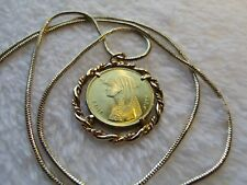 """Cleopatra Twisted Rope Gold Filled Coin Pendant on a 24"""" 18k Gold Filled Chain"""