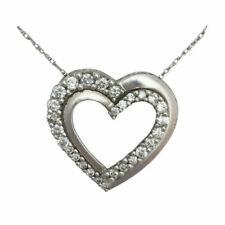 Echte Diamanten-Halsketten & -Anhänger aus Weißgold mit Herz-Anhänger