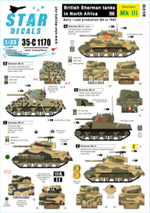 Star Decals, 35-C1170  British Sherman tanks in North Africa 1943 , SCALE 1/35